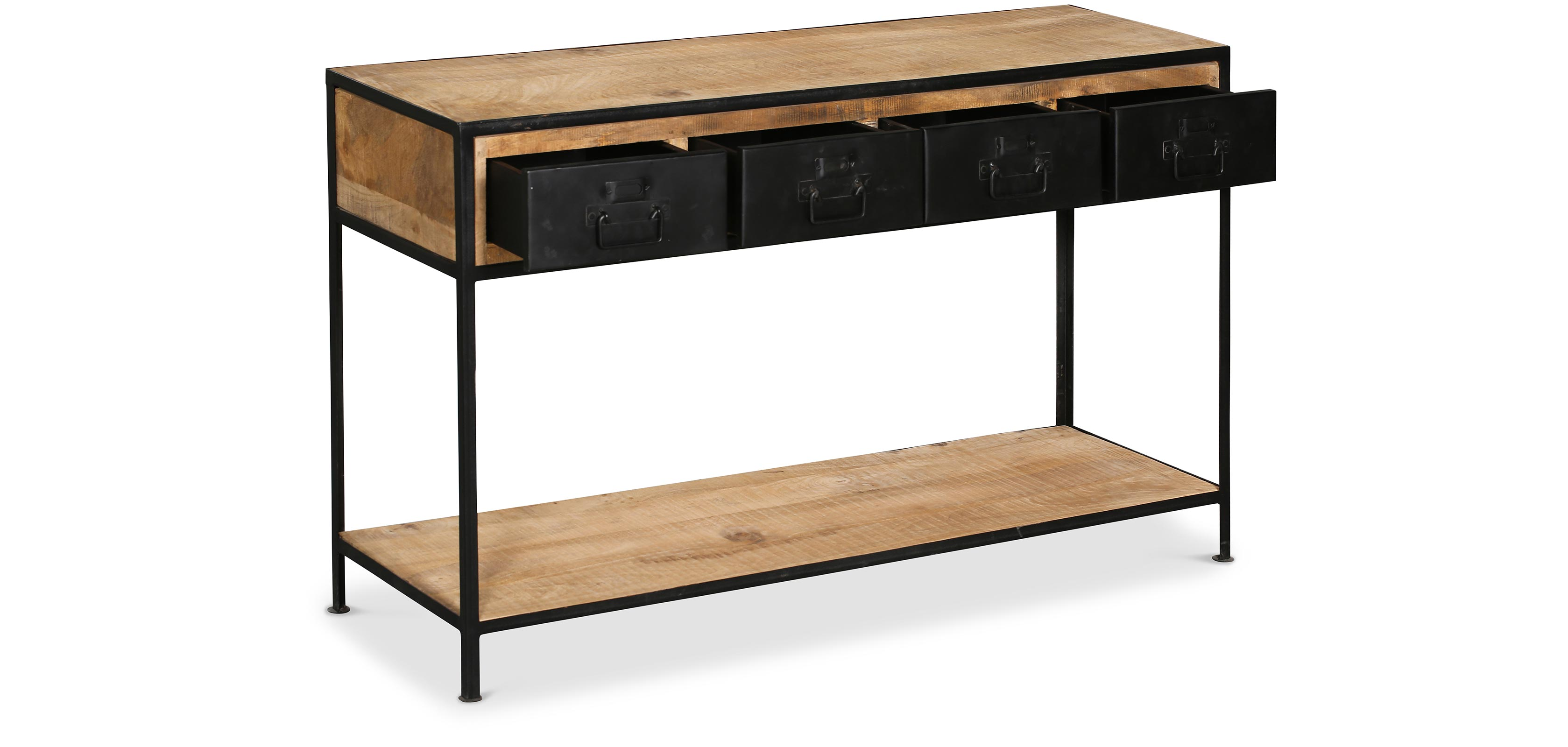 console tiroirs vintage industriel bois. Black Bedroom Furniture Sets. Home Design Ideas