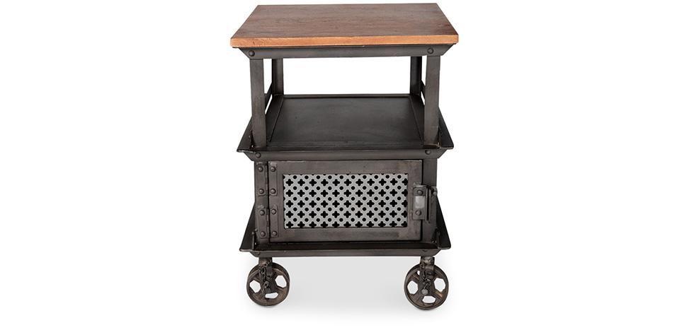 table d 39 appoint roulettes de style industriel. Black Bedroom Furniture Sets. Home Design Ideas