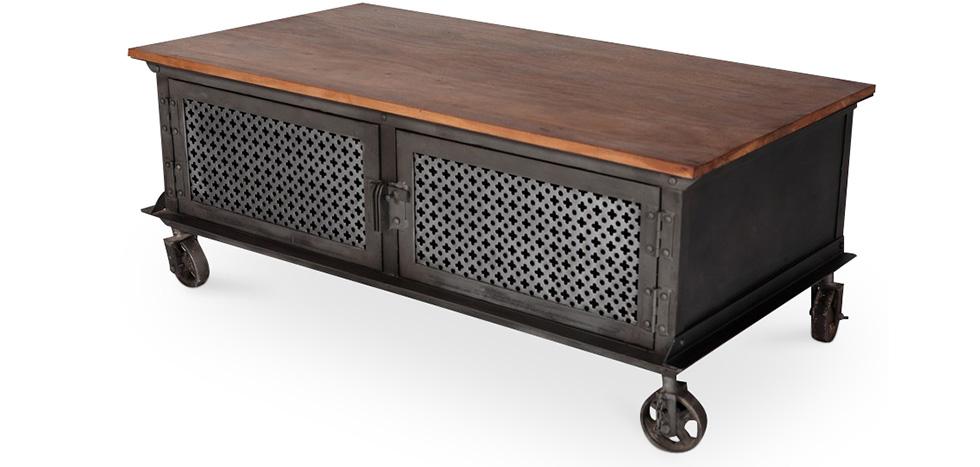 Table basse roulettes de style industriel - Table basse ouvrable ...