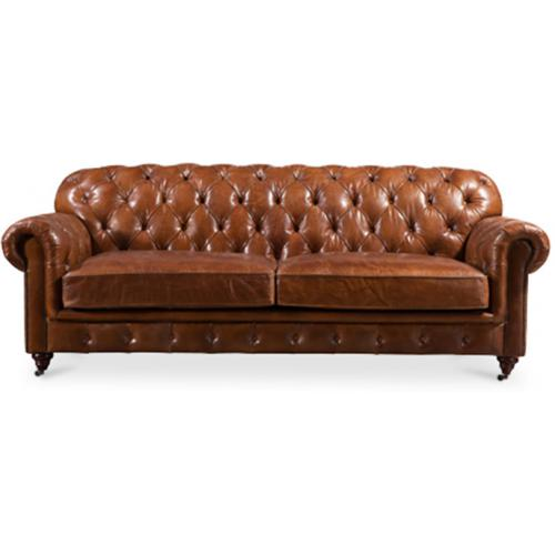 canap vintage style chesterfield en cuir marron. Black Bedroom Furniture Sets. Home Design Ideas