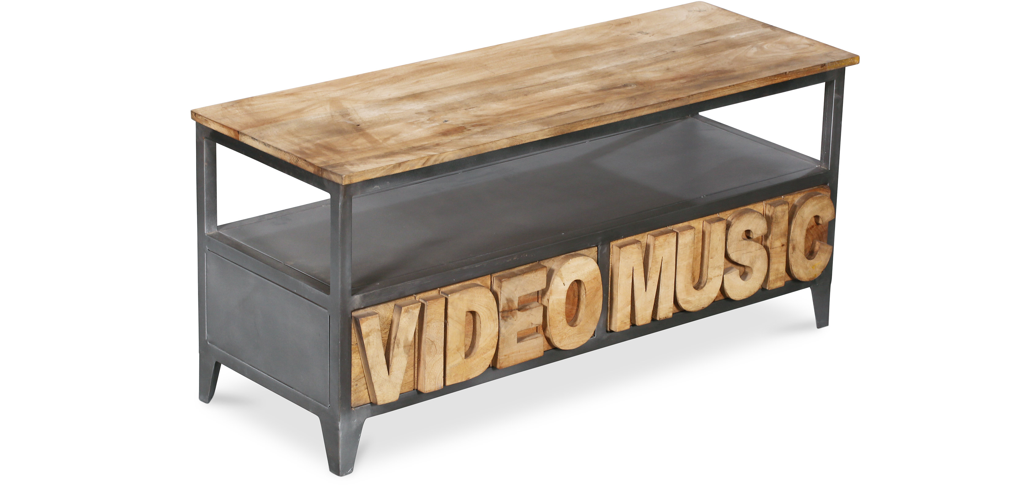 meuble tv en bois de manguier style industriel. Black Bedroom Furniture Sets. Home Design Ideas