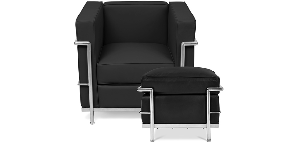 fauteuil lc2 ottoman charles le corbusier cuir. Black Bedroom Furniture Sets. Home Design Ideas