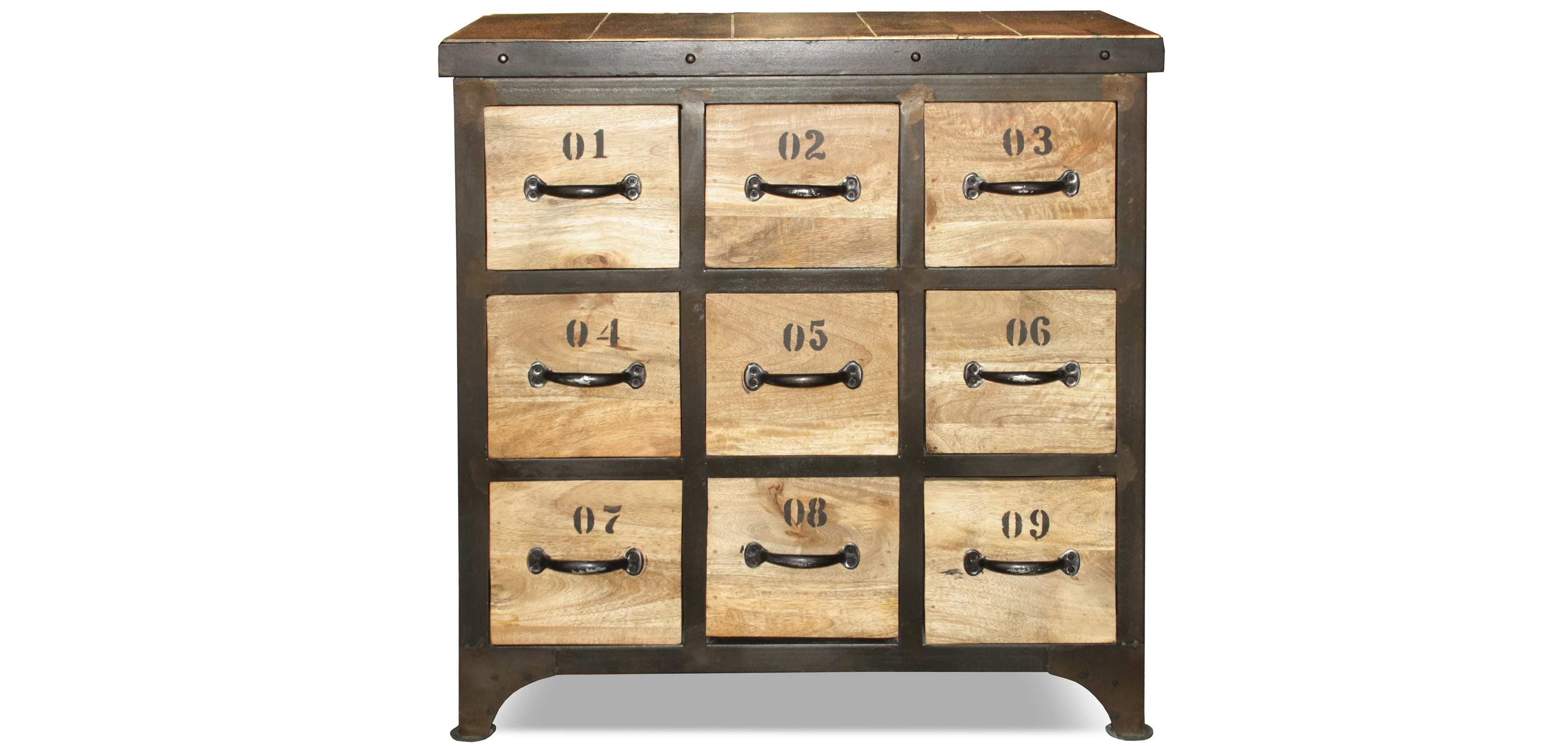 commode en bois vintage industriel. Black Bedroom Furniture Sets. Home Design Ideas