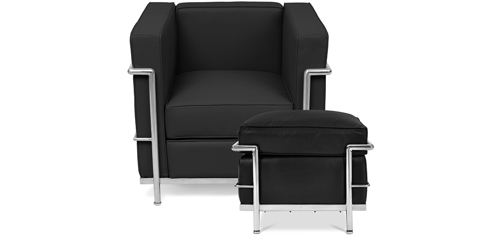 fauteuil lc2 avec son ottoman le corbusier simili cuir. Black Bedroom Furniture Sets. Home Design Ideas