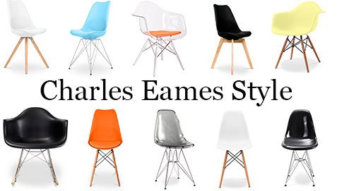 Lot de 2 chaises dsw avec coussin design scandinave for Chaise eames couleur