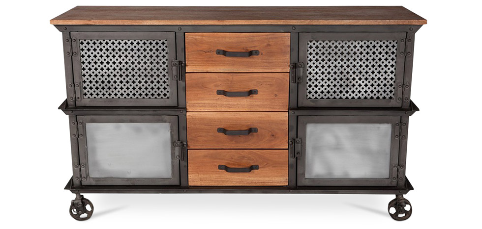 buffet en m tal style industriel. Black Bedroom Furniture Sets. Home Design Ideas