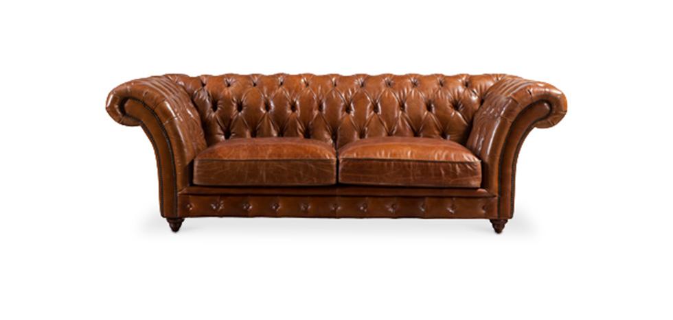 canap style victorien en cuir marron. Black Bedroom Furniture Sets. Home Design Ideas