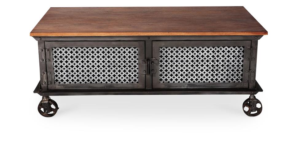 Table basse à roulettes de style industriel - Avara