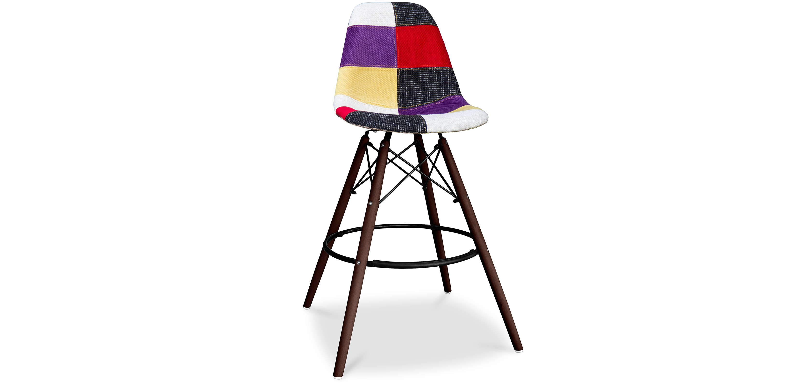 tabouret de bar deswin pi tement fonc patchwork. Black Bedroom Furniture Sets. Home Design Ideas